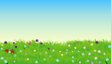 Vector illustration of sunny meadow with green grass and flowers