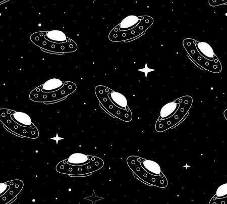 rocketship: Abstract space vector seamless pattern with saucer-shaped space ships flying across the stars in outer space. Endless texture. You can use any color of background