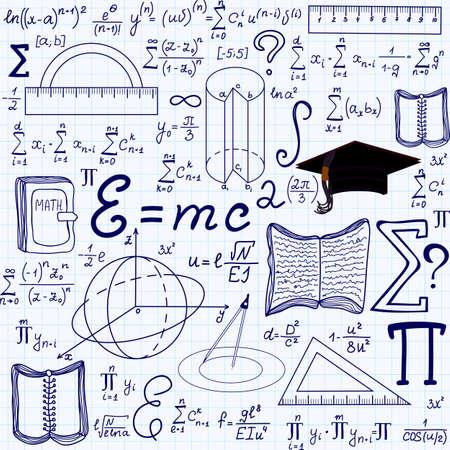 """teorema: Matemática vector educativo sin patrón, con figuras geométricas, parcelas y ecuaciones """", escrita a mano en el papel de cuaderno de cuadrícula"""". Textura matemáticas Endless"""