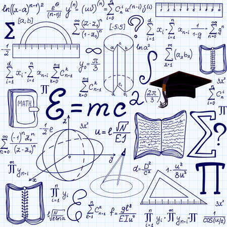 summarize: Mathematical educational vector seamless pattern with geometrical figures, plots and equations, handwritten on the grid copybook paper. Endless math texture Illustration