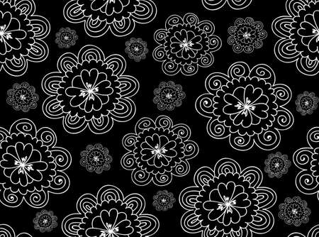 figured: Floral vector seamless pattern with figured daisy flowers Illustration