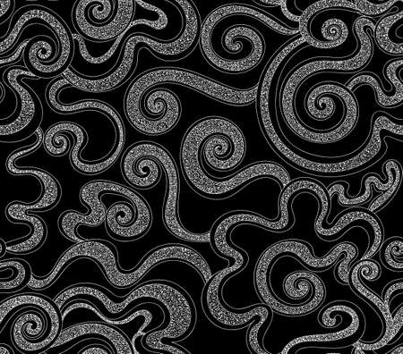 figured: Abstract decorative vector seamless pattern with figured curling lines. Endless texture Illustration