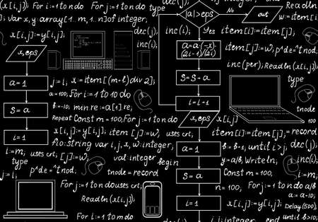 Programming technical seamless pattern with programming code program flow diagrams formulas technical devices and schemes. Endless computer texture. You can use any color of background