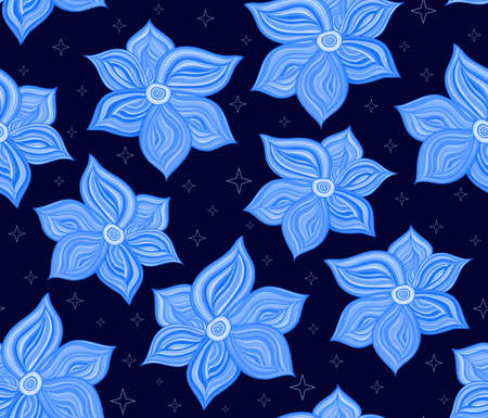 marriage bed: Floral vector seamless pattern with magical blue flowers and stars