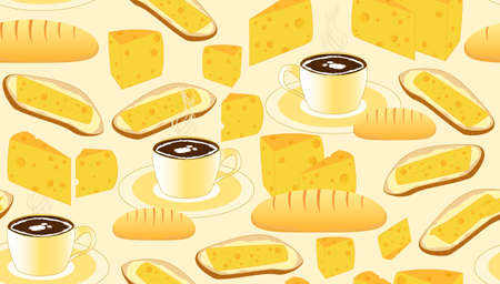 bread and butter: Vector seamless pattern with coffee cups bread butter cheese and sandwiches. Endless food texture