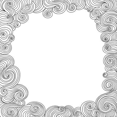 plaiting: Abstract vector black and white decorative frame with curling lines
