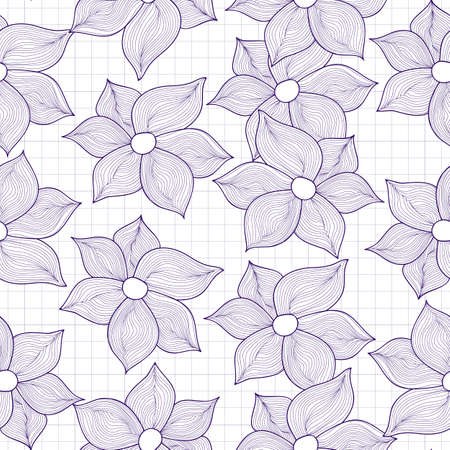 grid paper: Vector seamless texture of flowers stylized as drawings on grid copybook sheet of paper
