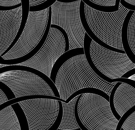 black fabric: Abstract vector seamless pattern with curling lines and grid. Decorative endless texture