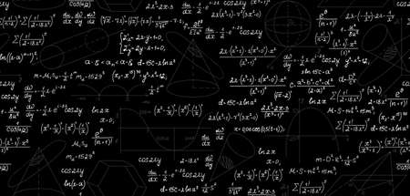 Mathematical vector seamless pattern with geometrical plots, figures, equations, formulas and calculations. Endless math texture. You can use any color of background