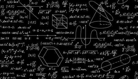 teorema: Vector matem�tico sin patr�n, con parcelas, f�rmulas y figuras geom�tricas. Textura de matem�ticas sin fin. Usted puede usar cualquier color de fondo Vectores