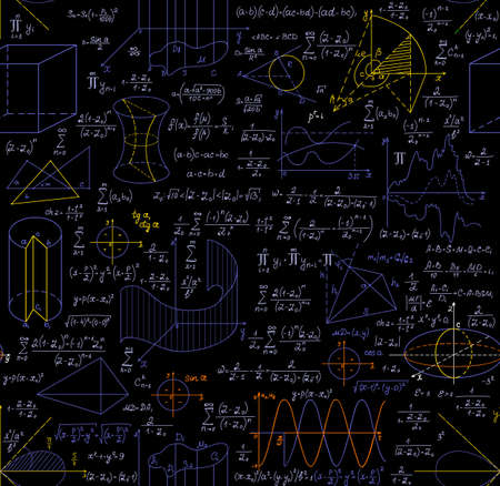 """teorema: vector patr�n matem�tico incons�til con las figuras, f�rmulas, gr�ficos, tareas de geometr�a y otros c�lculos, """"escrito a mano en el papel de cuaderno"""", diferentes colores Vectores"""