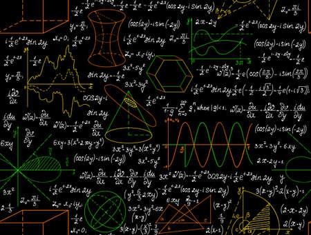 """Matemática vector sin patrón, con cifras, fórmulas y otros cálculos, """"escrita a mano en el papel de cuaderno"""", diferentes colores. Textura de matemáticas sin fin. Usted puede usar cualquier color de fondo"""