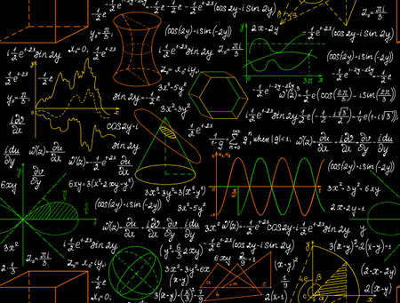 Mathematical vector seamless pattern with figures, formulas and other calculations, handwritten on the copybook paper, different colors. Endless math texture. You can use any color of background