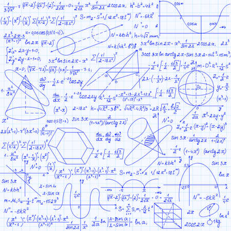 Mathematical vector seamless pattern with geometrical figures, plots and equations, handwritten on the grid copybook paper. Endless math texture 向量圖像