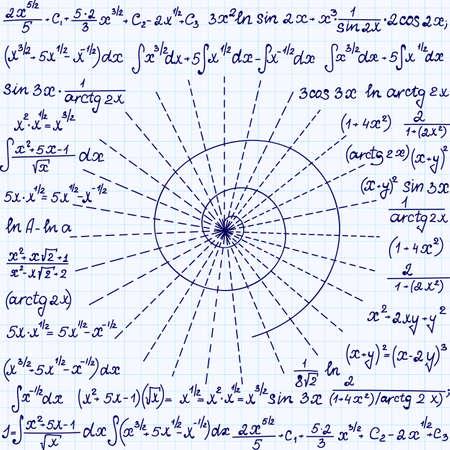 """cardioid: Matemática vector sin patrón con espirales geométricas, cálculos y ecuaciones """", escrita a mano en el papel de cuaderno de cuadrícula"""". Textura matemáticas Endless"""
