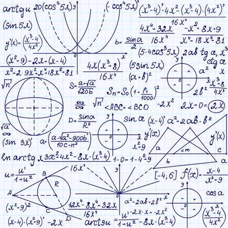 """cardioid: Matemática vector sin patrón con figuras geométricas, parcelas trigonometría y ecuaciones """", escrita a mano en el papel de cuaderno de cuadrícula"""". Textura matemáticas Endless Vectores"""