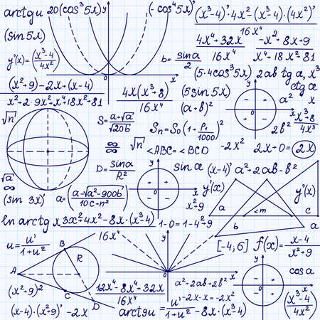 Mathematical vector seamless pattern with geometrical figures, trigonometry plots and equations,