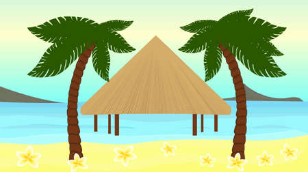 borabora: Beautiful vector illustration of the seaside of the tropical island. You can use it in travel advertisement