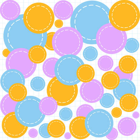 shreds: Abstract geometrical vector seamless pattern with multicolored circle shreds on a copybook paper