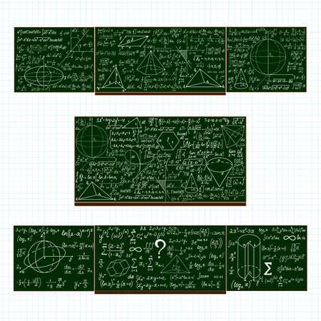 plots: set of school blackboards with handwritten mathematical calculations, plots and figures