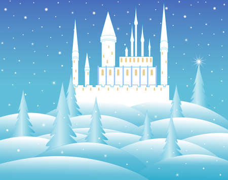frozen winter: snow queen castle at night in frozen forest Illustration