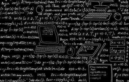 Technical seamless pattern with programming code, program flow diagrams, formulas, technical devices and schemes. Endless computer texture.