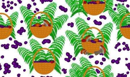 cep: Vector seamless pattern with gifts of forests: baskets full of mushrooms and blueberries and fern leaves