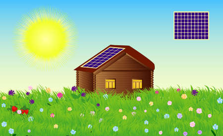 panels: Vector country cottage with solar panels in summer day