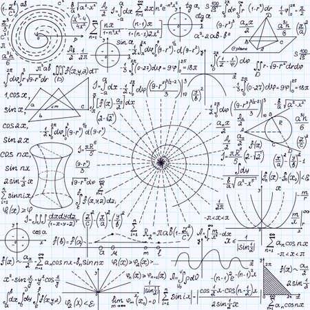 """cardioid: Vector Matemáticas textura transparente con parcelas, cálculos, figuras geométricas y diferentes fórmulas, """"escrita a mano en un papel cuadriculado cuaderno"""""""
