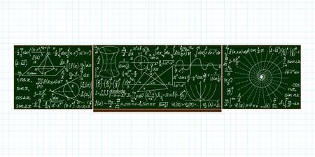 calculations: Vector school blackboard with handwritten mathematical calculations