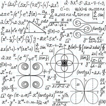 """teorema: Matem�tica vector sin patr�n con figuras geom�tricas, parcelas y ecuaciones """", escrita a mano en el papel de cuaderno de cuadr�cula"""". Textura matem�ticas Endless"""