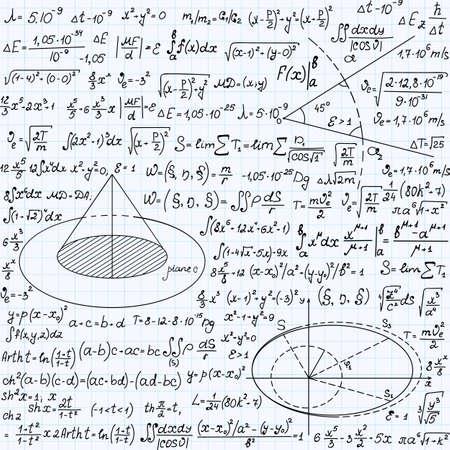 """cardioid: Matemática vector sin patrón con figuras geométricas, gráficos y ecuaciones """", escrita a mano en el papel de cuaderno de cuadrícula"""". Textura matemática sin fin"""