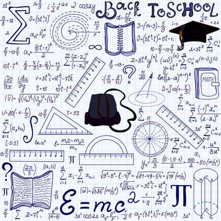 """matematicas: Matemática vectorial educativa sin patrón, con figuras geométricas, gráficos, ecuaciones palabras """"Volver a la escuela"""", y otras herramientas de la escuela """", escrito a mano en el papel de cuaderno de cuadrícula"""". Textura matemáticas Endless"""