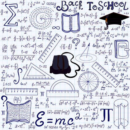 Mathematical educational vector seamless pattern with geometry figures, plots, equations, words Back to school, and other school tools, handwritten on the grid copybook paper. Endless math texture Illustration