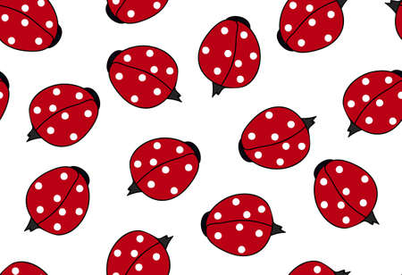 slither: Decorative vector seamless texture with beautiful colorful ladybugs. You can use any color of background