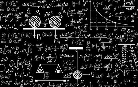 Physical vector seamless pattern with the equations, figures, schemes, plots and other calculations. You can use any color of background Illustration