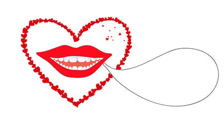 Vector background with smiling female lips with red hearts Illustration