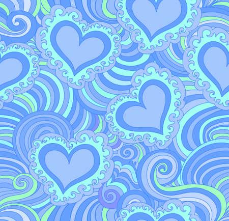 corazones azules: vector sin patrón abstracto con corazones ornamentales azules. la textura infinita
