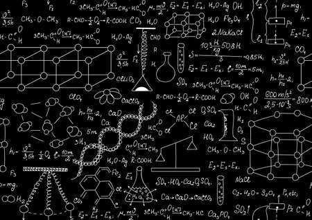 retort: Scientific vector seamless pattern with chemical and physical formulas, plots and schemes. Endless texture. You can use any color of background