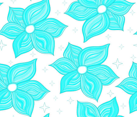 magic lily: Floral vector seamless pattern with tender blue flowers. You can use any color of background