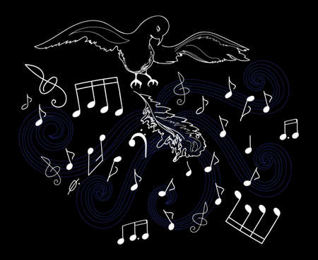 choral: Vector illustration with the bird, feathers and musical notes