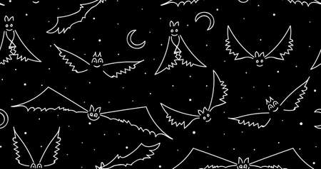 vamp: Halloween vector seamless pattern with funny flying bats Illustration