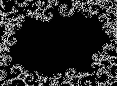 figured: Abstract frame with curling figured white shapes. Vector decorative background