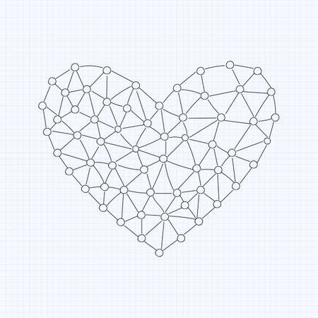 vector  molecular: Abstract vector background with heart of molecular combinations, love science