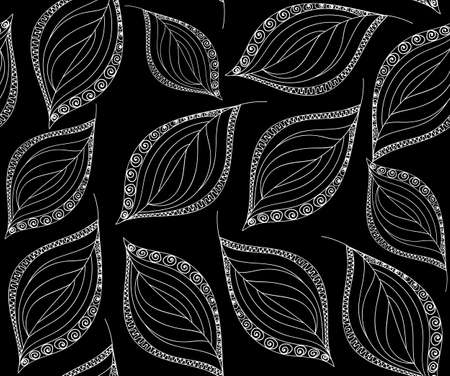 figured: Autumnal vector seamless pattern with figured lacy leaves. You can use any color of background