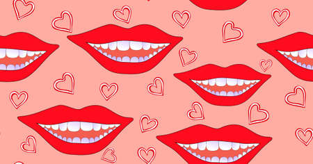 Abstract funny vector seamless pattern with smiling female lips, drawn hearts on a pink background. Endless fashion texture