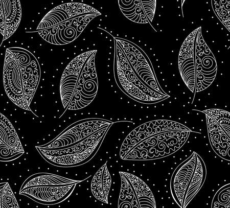 lacy: Abstract decorative vector seamless pattern with lacy leaves. Endless texture Illustration