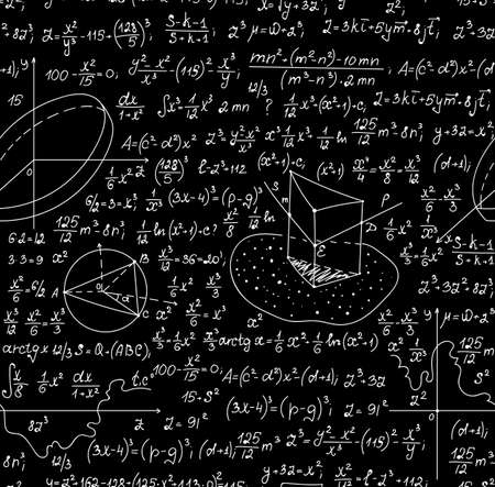 mathematical proof: Mathematical vector seamless pattern with geometrical figures, plots, formulas, other mathematical calculations. You can use any color of background