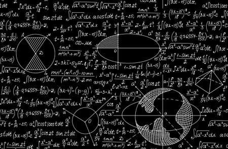 teorema: vector sin patrón matemáticas con figuras geométricas, fórmulas y cálculos. la textura infinita. Se puede utilizar cualquier color de fondo Vectores