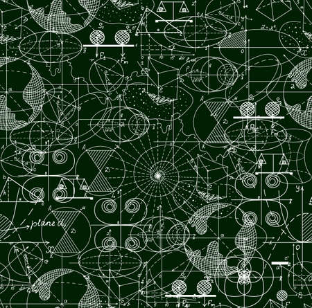 Math technical vector seamless pattern of formulas, geometrical figures, calculations, shuffled together. Scientific endless texture. You can use any color of background